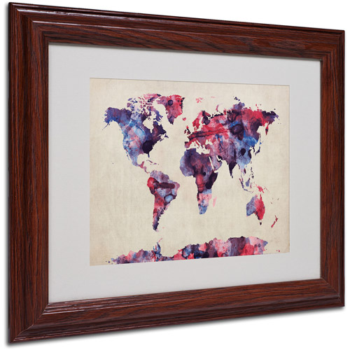 "Trademark Fine Art ""Watercolor Map"" Matted Framed Art by Michael Tompsett"