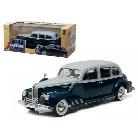 1941 Packard Super Eight One Eighty Silver French Gray Metallic Duco   Barola Blue 1 18 Diecast Model Car By Greenlight