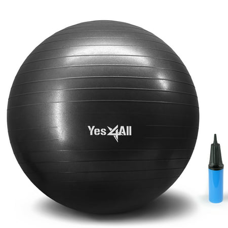 Yes4All Yoga Exercise Ball with Pump (Hand) – Anti Burst & Extra Thick Stability Ball / Balance Ball / Fitness Ball – Small Yoga Ball (65 cm, Black)