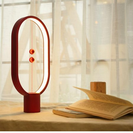 Heng Balance Lamp by DesignNest- Ellipse Magnetic Mid-air Switch USB Powered LED Lamp, Reddot Award Winner 2016 (Red)