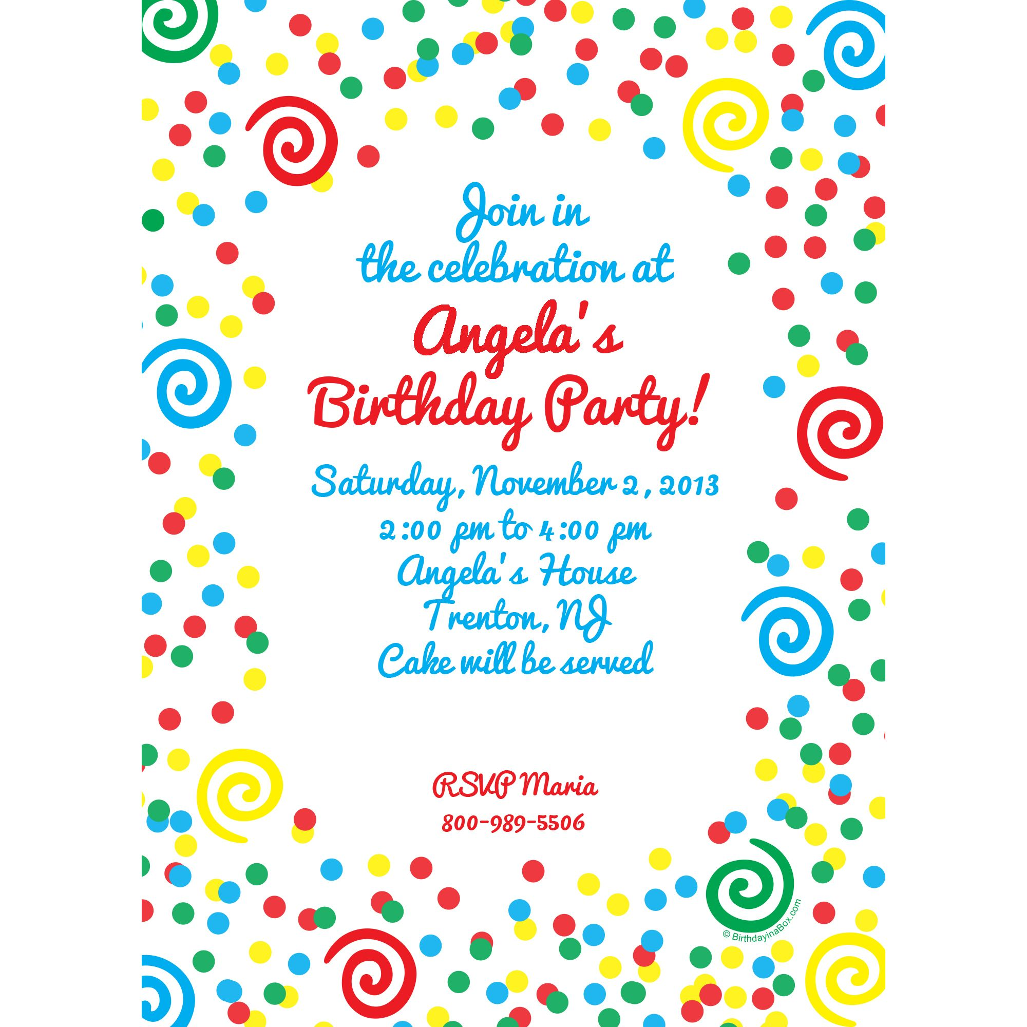 Frosted Cake Invitation (Each) - Party Supplies