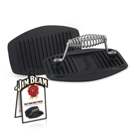 Jim Beam Barbecue and Grilling Meat Press, 9'' Cast Iron Meat Press, Pre-Seasoned Cast Iron Meat Press, Heavy Duty Construction, Stainless Steel Handle, Meat Press for Turkey, Steaks, Bacon &