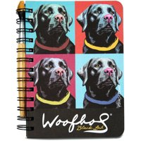 """5"""" x 7"""" Paw Palettes Black Lab Dog Spiral Bound Notebook with Paint Brush Pen"""