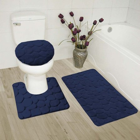 Enjoyable Navy 3 Piece Rock Memory Foam Bathroom Mat Set Flannel Embossed Rug 19X 30 Contour Mat 19X19 And Toilet Lid Cover 19X19 With Non Skid Rubber Machost Co Dining Chair Design Ideas Machostcouk