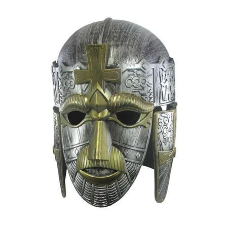 Silver Roman Spartan Sutton Hoo Helmet Face Mask Medieval Costume Crusader Knight