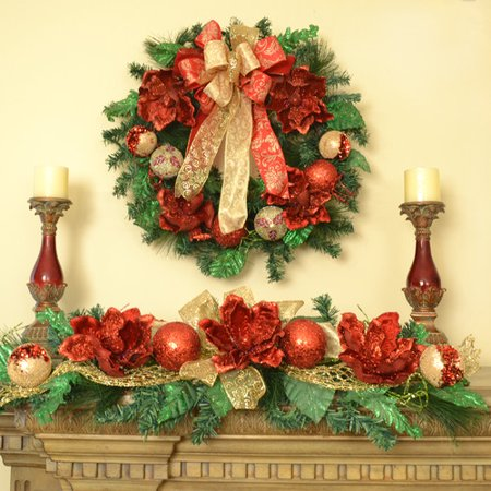 floral home decor magnolia christmas wreath and holiday swag set - Magnolia Christmas Decor