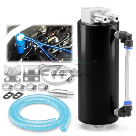 Black High Capacity Aluminum Engine Oil Catch Tank Reservoir Breather Can -