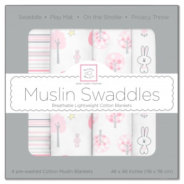 SwaddleDesigns X-Large Cotton Muslin Swaddle Blankets, Set of 4, Pink Thicket