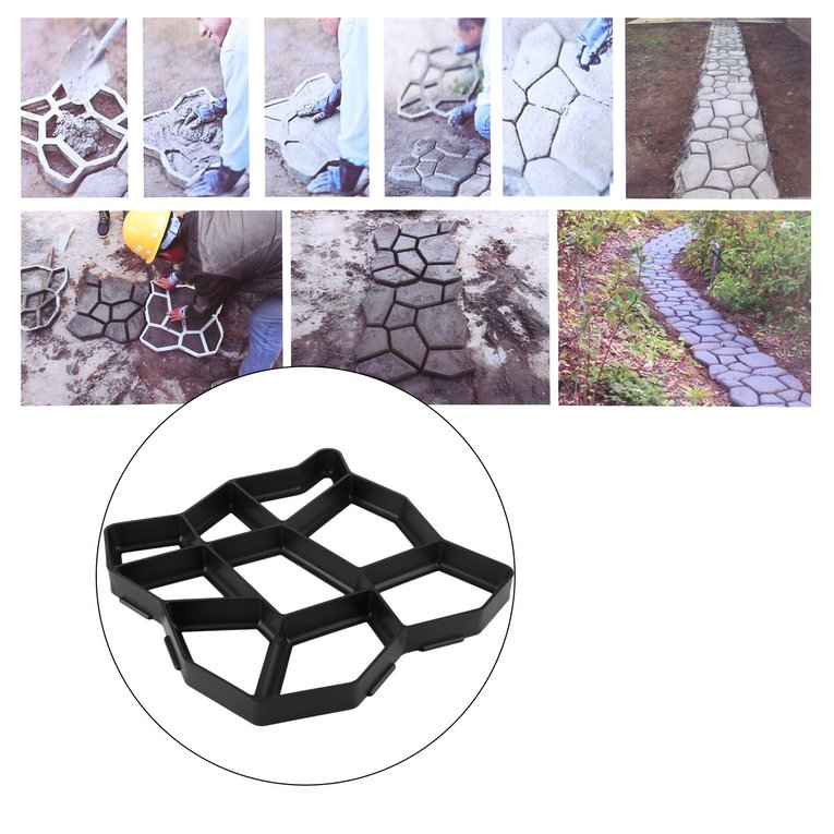 Black Irregular Driveway Pavement Mold Patio Stepping Stone Garden Path Mold