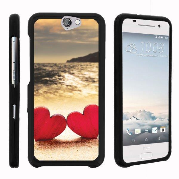 TurtleArmor ® | For HTC One A9 | HTC Aero [Slim Duo] Two Piece Hard Cover Slim Snap On Case - Red Hearts Love