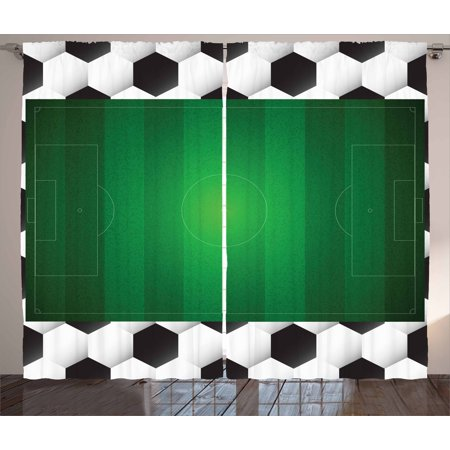 Soccer Curtains 2 Panels Set Football Field With Hexagonal Ball Pattern Frame Sports Activity League