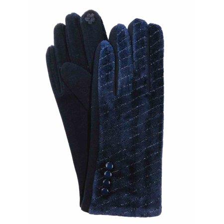 G&S Womens Metallic Navy Velvet Stretch Fit Button Texting & Tech Smart Gloves