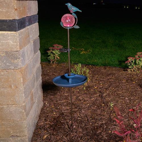 Smart Solar Aquarius Birdbath Solar Stake with Glass Orb