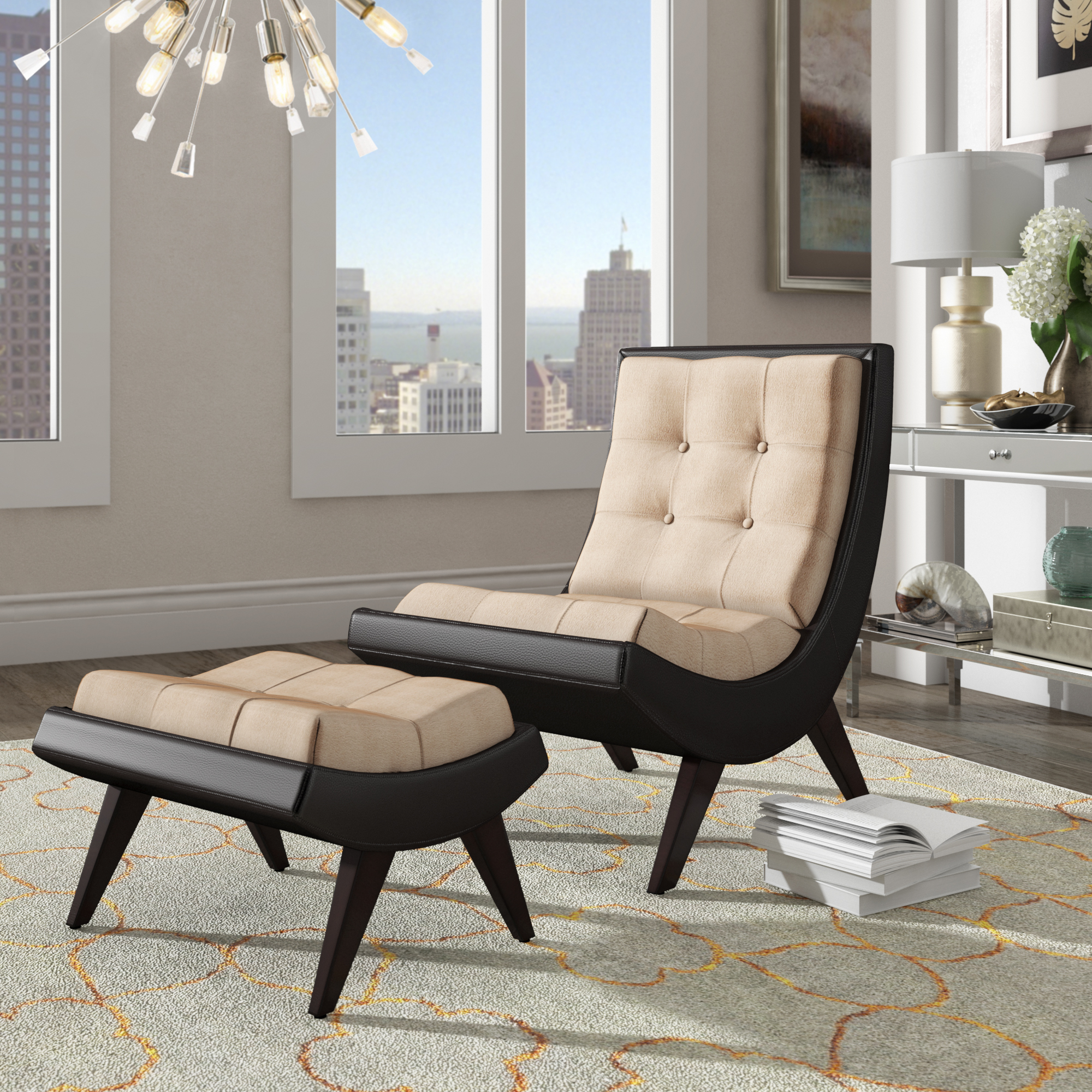 Weston Home Tufted Occasional Chair and Ottoman, Taupe