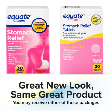Equate Stomach Relief Chewable Tablets, 262 mg, 30