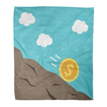 SIDONKU Flannel Throw Blanket Down Gold Dollar Coin Rolling Downhill Money Financial Crisis Soft for Bed Sofa and Couch 58x80