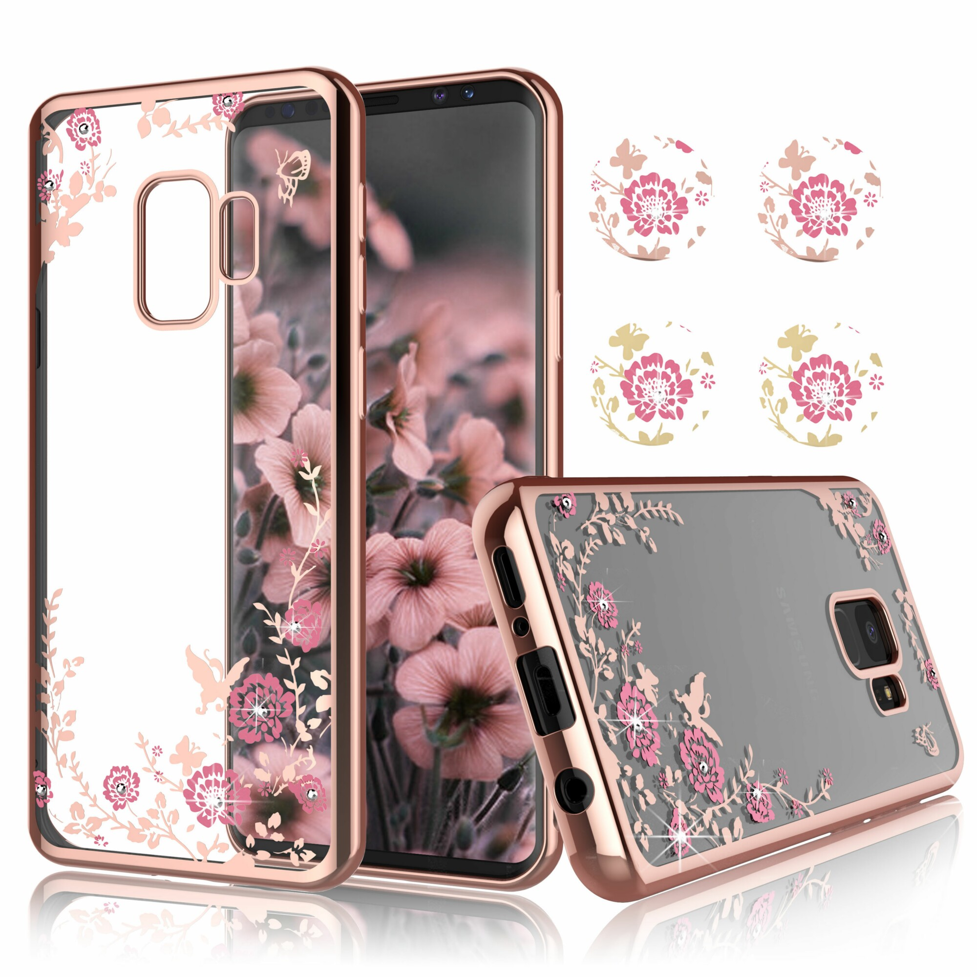 Galaxy S9 Case, Samsung S9 Clear Case Cover, Njjex Ultra Thin TPU Case With Bling Diamond Cover For Samsung Galaxy S9 Released on 2018 -Rose Gold