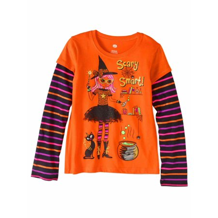Girls Scary Smart Orange Stripe Glitter Halloween T-Shirt Witch Tee Shirt (Scary Halloween Girl)