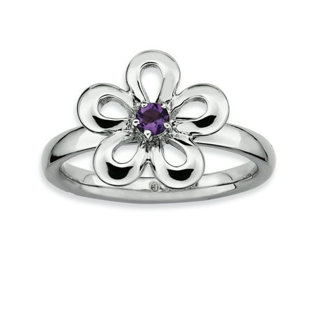 Sterling Silver Stackable Expressions Polished Amethyst Flower Ring Size 10 - image 1 de 3