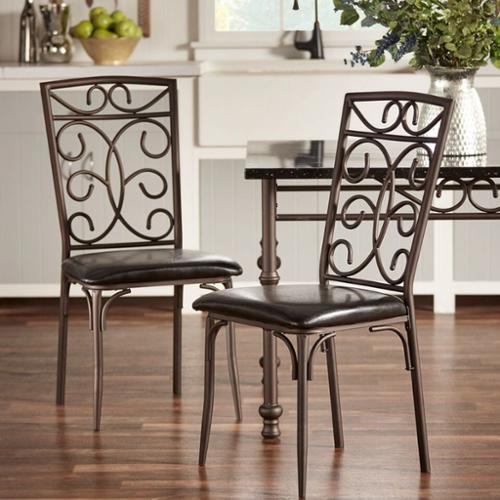 Tribecca Home  Zella Bistro Metal Scroll Black Bi-Cast Vinyl Dining Chairs (Set of 4)