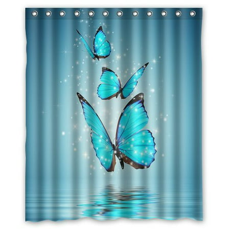 GreenDecor Butterfly Waterproof Shower Curtain Set with Hooks Bathroom Accessories Size 60x72 inches - Butterfly Bathroom