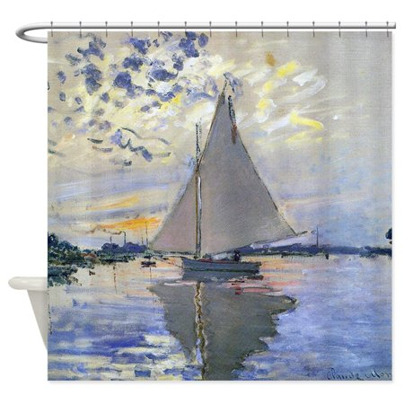 CafePress - Claude Monet Sailboat - Unique Cloth Shower Curtain ()