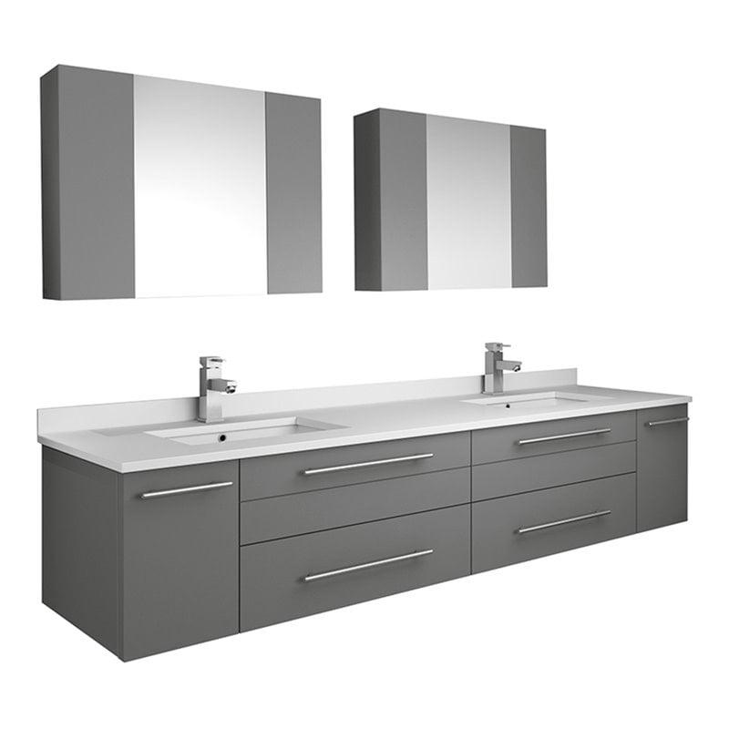Fresca Lucera 72 Wall Hung Double Undermount Sink Bathroom Vanity In Gray Walmart Com Walmart Com
