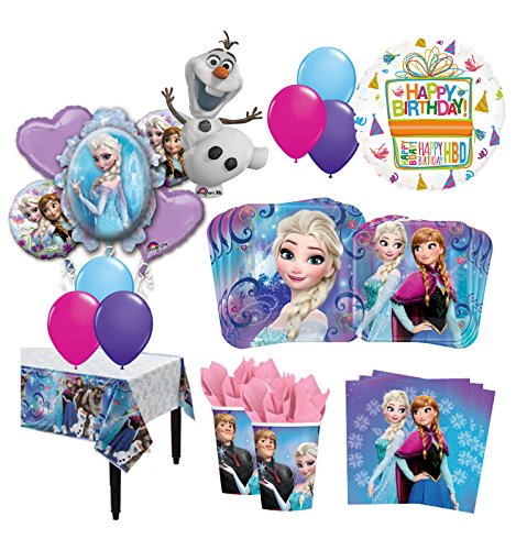 The Ultimate 16 Guest 95pc Frozen Olaf Anna Elsa Birthday Party Supplies