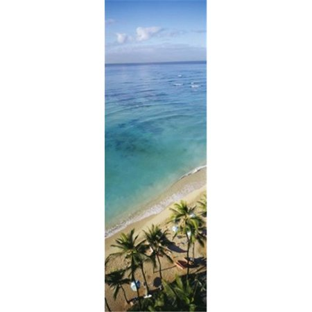 High angle view of palm trees with beach umbrellas on the beach  Waikiki Beach  Honolulu  Oahu  Hawaii  USA Poster Print by  - 12 x 36 - image 1 of 1