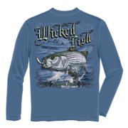 Wicked Fish Striped Bass Long Sleeve Fishing T-shirt by , Blue