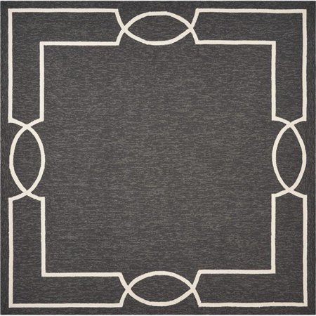 HomeRoots 354112 7 ft. Square UV-Treated Polypropylene Onyx Area Rug