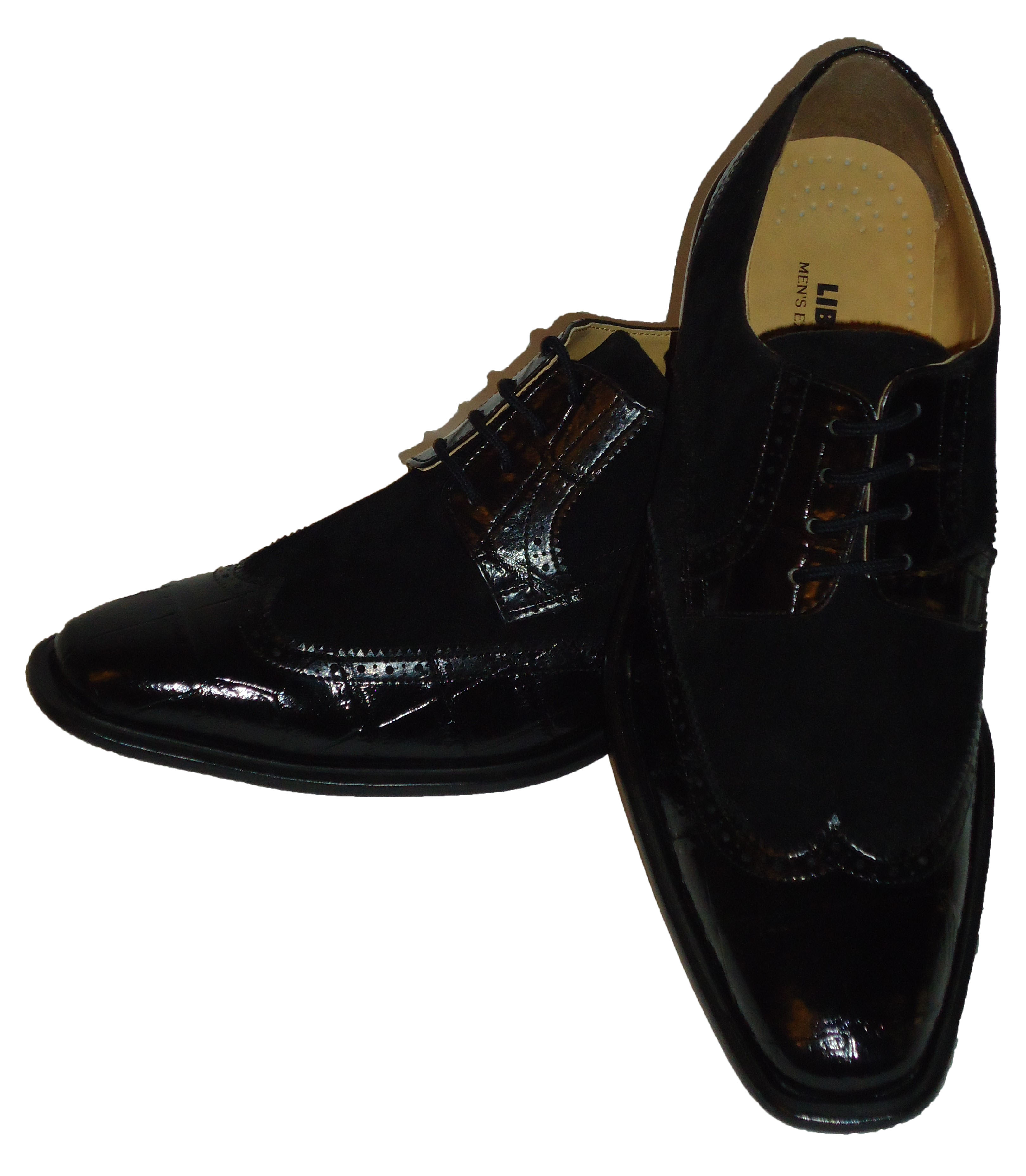 Mens Elegant Black Suede Look Two Tone Wing Tip Dress Shoes Liberty LS747 Size 9
