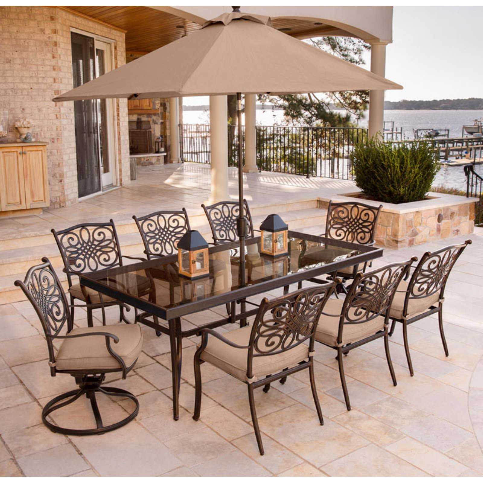 """Hanover Outdoor Traditions 9-Piece Dining Set with 42"""" x 84"""" Glass-Top Table, 6 Stationary Chairs, 2 Swivel Rockers and Umbrella with Stand, Natural Oat"""