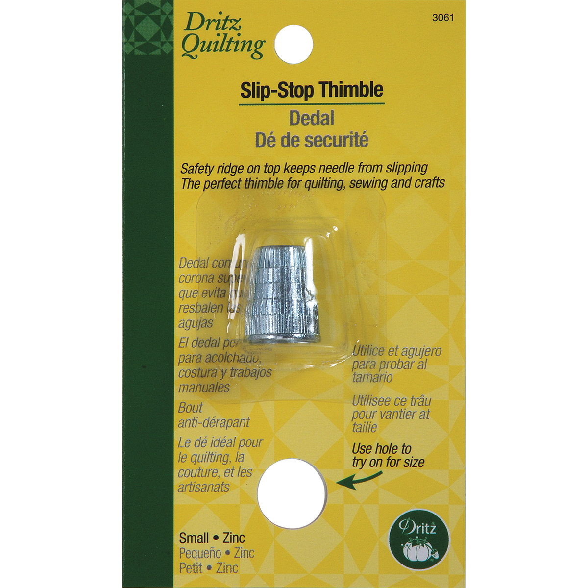 Dritz Quilting Slip Stop Thimble-Small