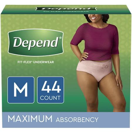 Depend FIT-FLEX Incontinence Underwear for Women, Maximum Absorbency, M, Blush, 44