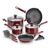 T-Fal Enjoy Thermo-Spot 12 Piece Nonstick Cookware Set, Red
