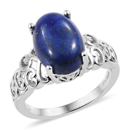 Oval Lapis Lazuli Platinum Plated Engagement Ring for Women Jewelry -