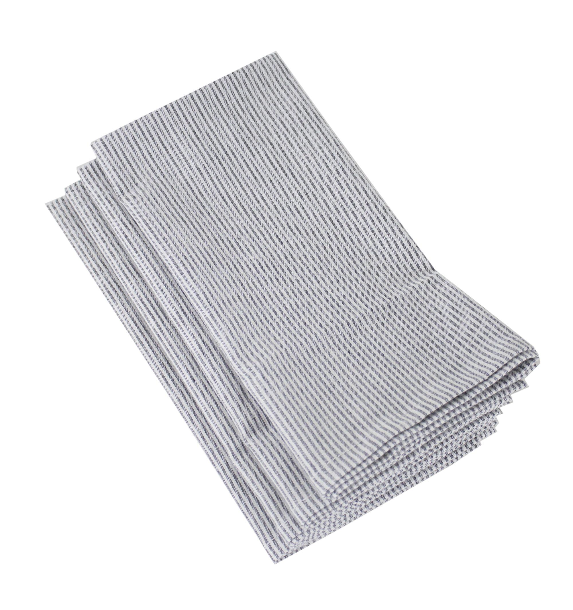 Fennco Styles Farmhouse Neutral Striped 100 Pure Cotton Cloth Napkin 20 X 20 Inch Set Of 4 Grey Walmart Com Walmart Com