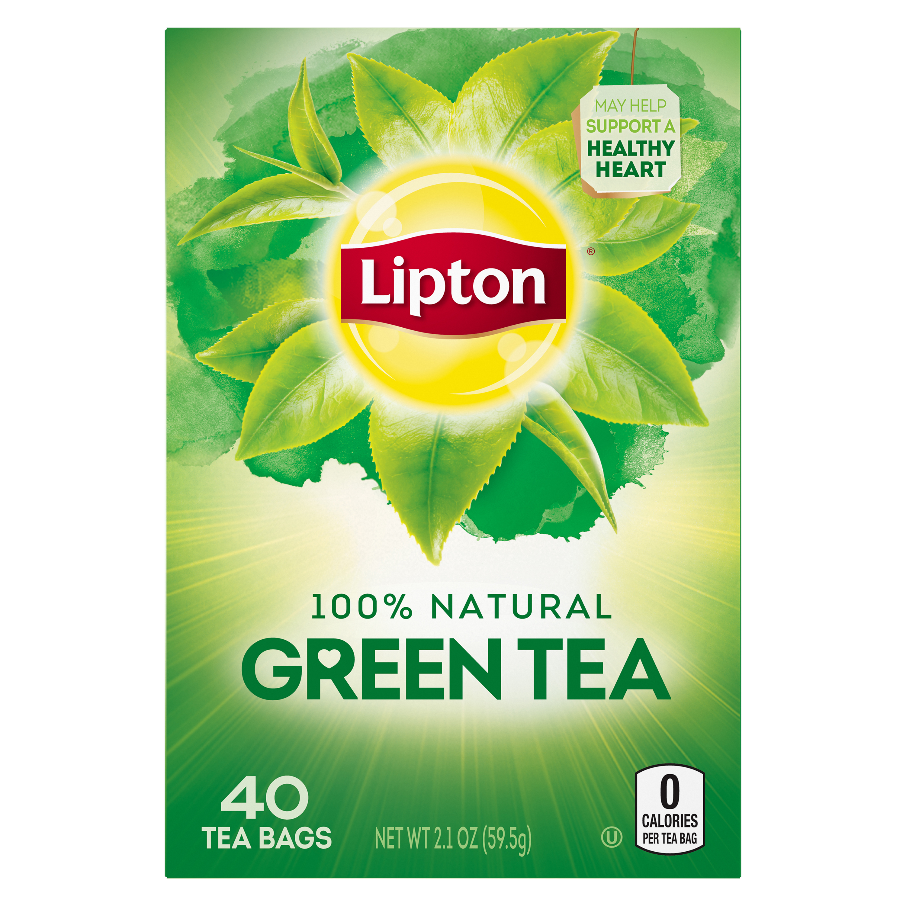 (6 Boxes) Lipton Natural Green Tea Bags, 40 ct