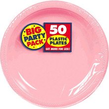 Big Party Pack Large 10 Inch Lunch Plastic Plates - New Pink - Pink Plastic Plates