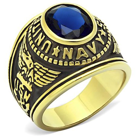 Stainless Steel US Navy USN Military Ring Gold Plated with Blue Stone, Size 12