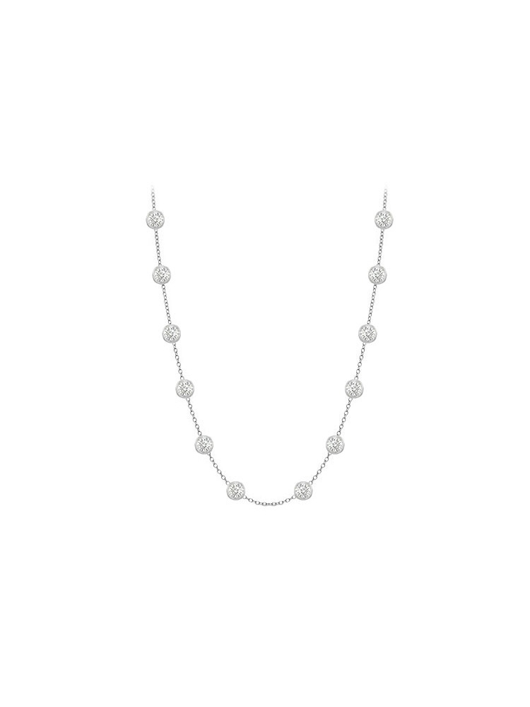 Diamonds Necklace in 14K White Gold Bezel Set 0.50ct.tw by Love Bright