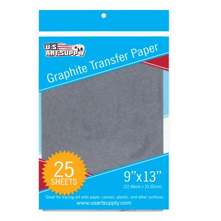U S  Art Supply Graphite Carbon Transfer Paper 9   X 13     25 Sheets   Black Tracing Paper For All Art Surfaces