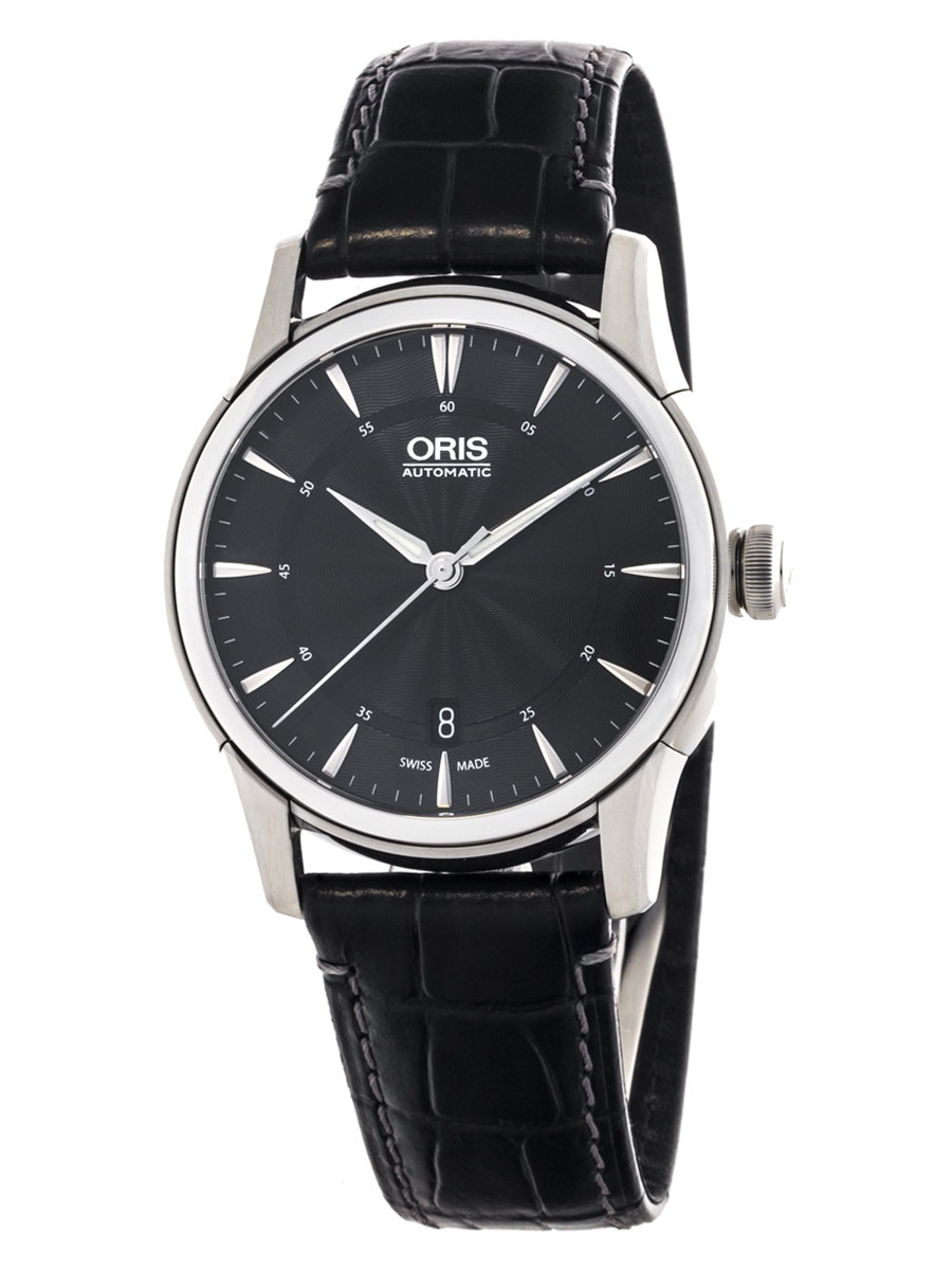 Oris 73376704054LS Men's Artelier Black Dial Black Leather Strap Power Reserve Automatic Watch