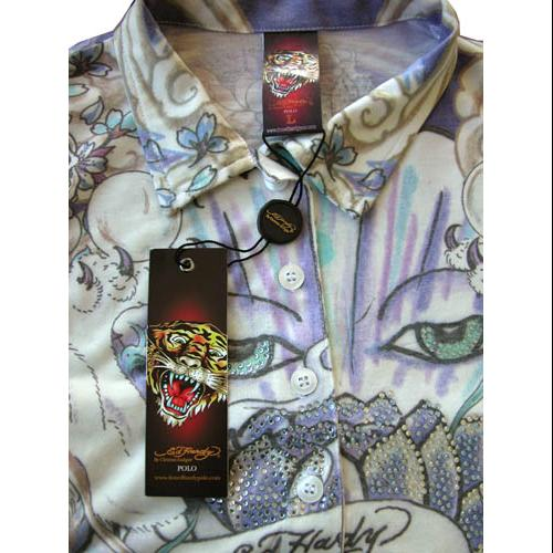 NWT Ed Hardy Love Kills Slowly Polo Shirt Rhinestones S