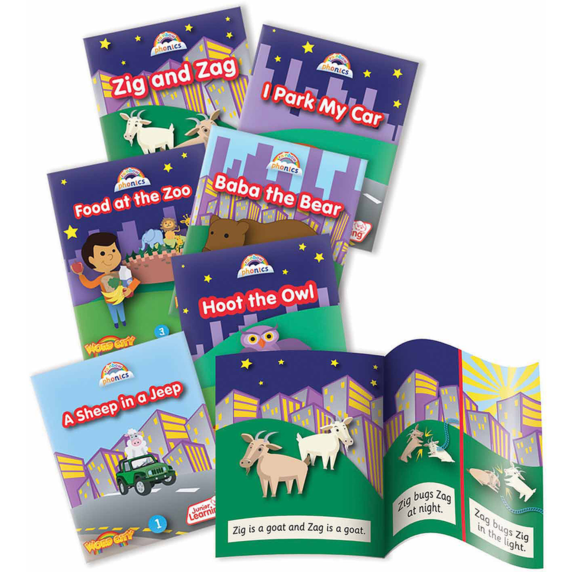 Junior Learning Rainbow Phonics Word City, 6 Early Reader Story Books