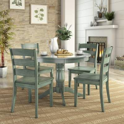 Lexington 5-Piece Dining Set with Round Table and 4 Ladder Back Chairs, Antique Sage ()