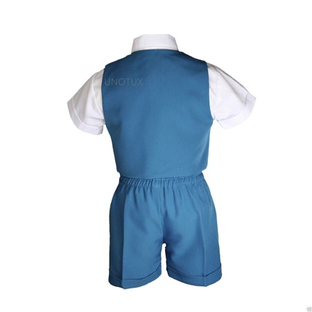 Boys Baby Toddler Formal Wedding Teal Turquoise Aqua Vest Sets Shorts Suits S-4T - image 3 of 6