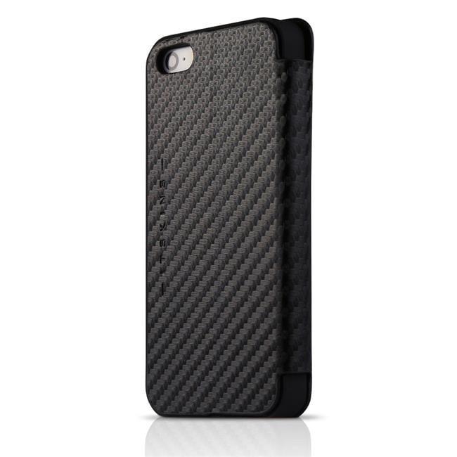 ItSkins ITS-APH5-ANGEL-CABN Angel Folio Case for iPhone 5-5S SE, Black Carbon