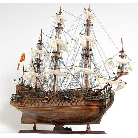 Model Ship San Felipe Medium Teak Mahogany Rosewood Brass Chrome New Plan OM-251